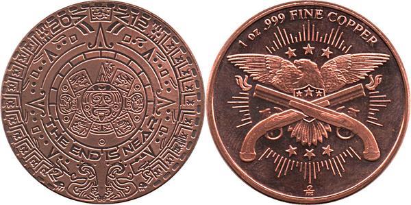 Mayan Calendar 1 oz Copper Round
