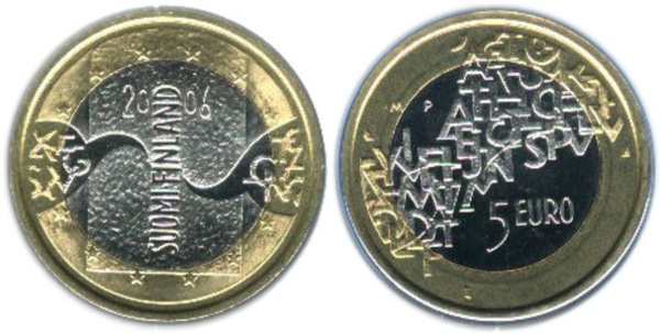 FINLAND FINNISH KM100 2006-M UNC-UNCIRCULATED MINT 5 EURO CENT COIN