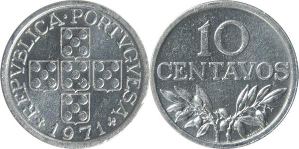 PORTUGAL Portuguesa 10 Centavos 15mm aluminium Coin