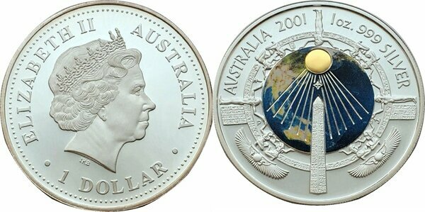 Cleopatra/'s Needle 2001 1oz SILVER MILLENNIUM PROOF LIKE $1 ONE DOLLAR COIN
