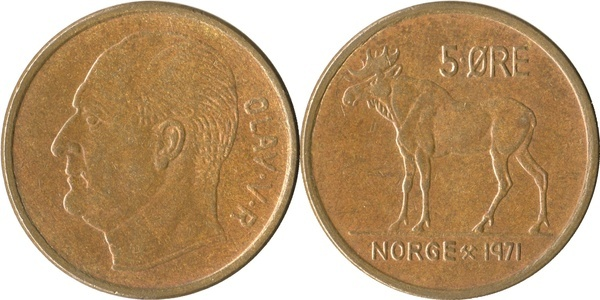Old Norway Coin 1972 5 Ore Moose Circulated