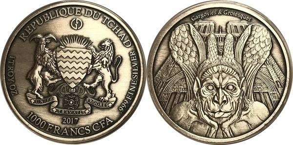2017 1 Oz Silver GARGOYLES /& GROTESQUES ANTIQUE FINISH Coin 1000 Francs.