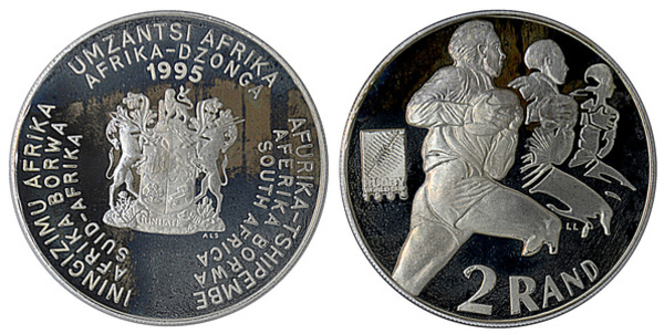 SOUTH AFRICA RARE SILVER PROOF 2 RAND COIN 1995 YEAR KM#153 RUGBY WORLD CUP