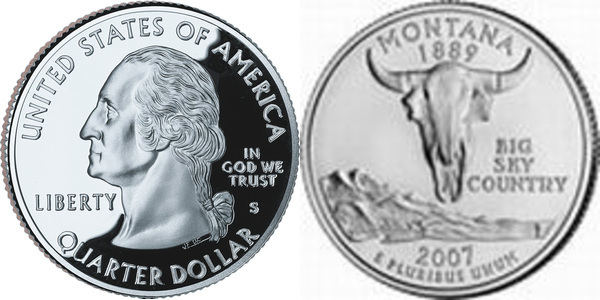Scull coin 2007 US Quarter 25 cents Montana