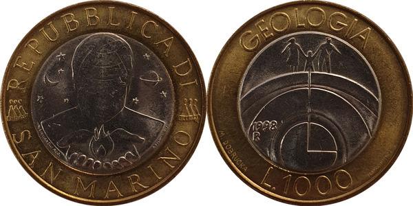 "San Marino 1000 lire 1998 km#384 /""Geology/"" BiMetallic UNC"