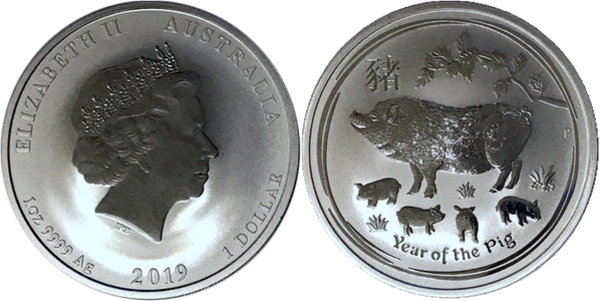2019 Australia Colored PROOF Silver Lunar Year of the PIG NGC PF70 1oz $1 Coin
