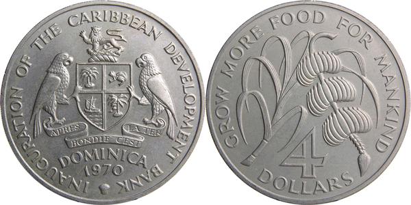 The Caribbean Development Bank 1970 FAO 4 Dollars Copper-Nickel 8 Coins Set UNC