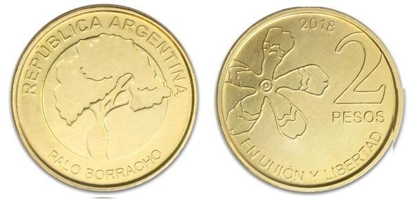 Argentina 1 2 5 10 Pesos 4 Pcs Coin Set 2017-2018 New Flower Tree Unc