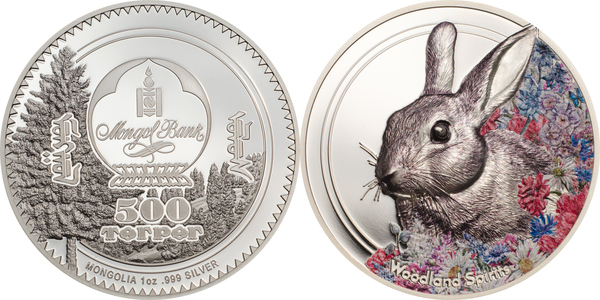 2019 Mongolia 500 Togrog 1oz 999 Silver Coin RABBIT with COA .