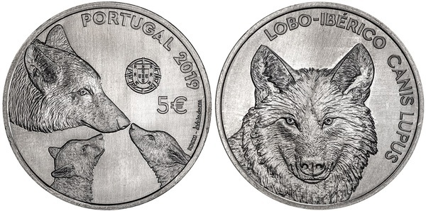 5 EURO PORTUGAL 2019 Specie-in-path-to-disappear-WOLF-IBERIAN-40-000-EX.