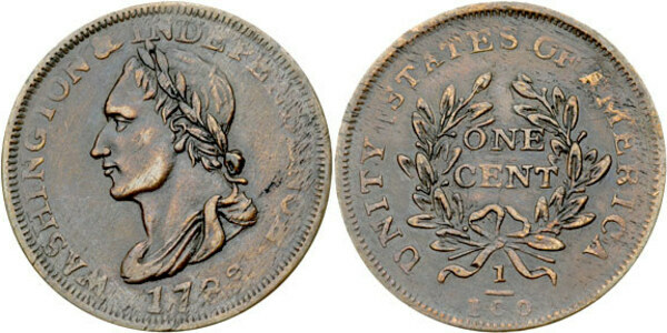 1 Cent Post Colonial Issue Washington Portrait Piece