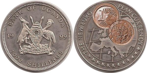1000 Shillings 1 Euro Cent Germany Uganda Numista