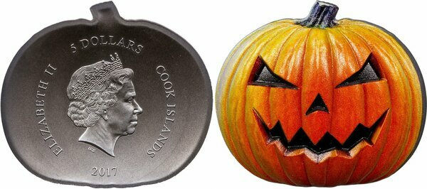 2017 Cook Islands 1 oz .999 Silver Halloween Pumpkin//Jack O/' Lantern!