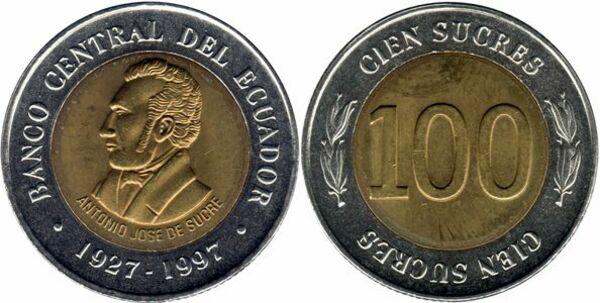 Central Bank Ecuador 1997-100 Sucres Bi-Metallic Coin 70th Anniversary