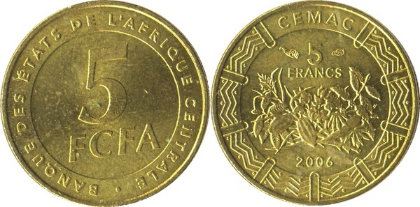Central African States 2006-25 Francs Brass Coin Value above produce