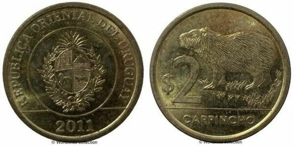 "Uruguay 2 pesos 2012 km#136 /""Carpincho/"" UNC"