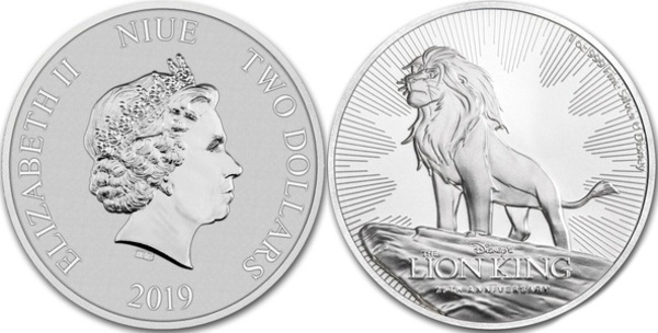2019 Disney Lion King 25th Anniversary $2 Niue BU 1 oz Silver Coin with Capsule