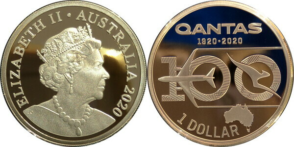 2020 $1 Coin 100 Years of Qantas Silver Proof