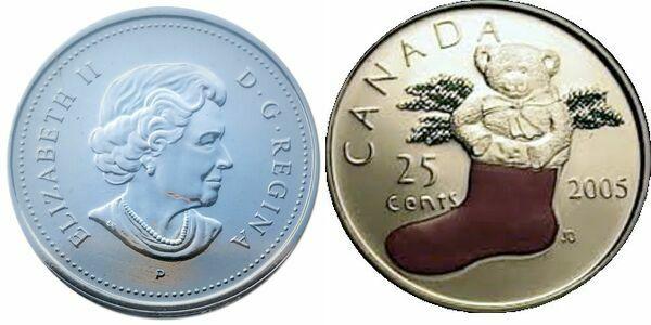 BU Canada 2005 colorized poppy quarter 25 cents 25c commemorate pin bookmark