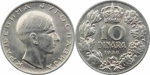 Kingdom of Yugoslavia 10 dinars 1938 King Peter II