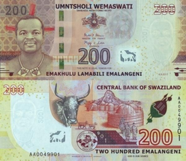 2018 Swaziland 200 Emalangeni p-43 2017 UNC Banknote