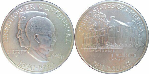 1 Dollar (Eisenhower Centennial) - United States – Numista