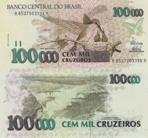 P-238 ND 1993 Brazil 100 Cruzeiros on 100000 Banknote Original UNC