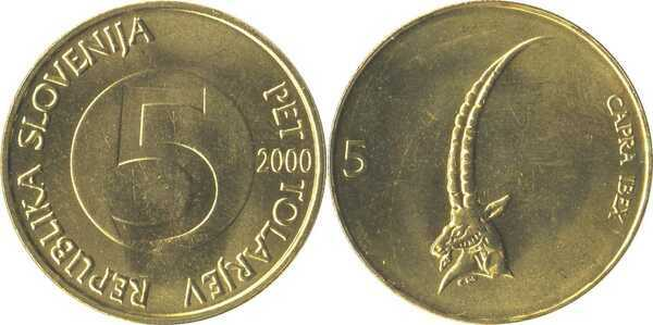 2000 Slovenia 5 tolarjev Head of ibex animal coin
