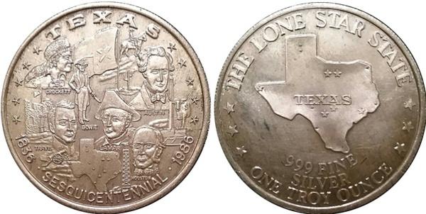 1 Oz Silver Texas Sesquicentennial 1836 1986