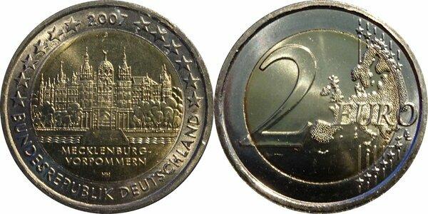 "Germany 2 euro coin 2007 /""Schwerin Castle/"" UNC"