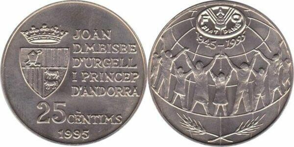 COIN ANDORRA 25 CENTIMS 1995 KM # 109 UNCIRCULATED RARE FAO F.A.O