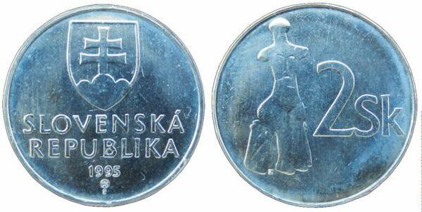 Slovakia 1993-2 Koruna Nickel Clad Steel Coin Venus statue