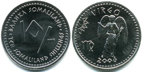 SOMALILAND 10 SHILLINGS 2006 UNC SAGITTARIUS THE ARCHER,VALUE