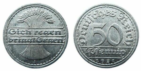 German 1922 D 50 Pfennig Coin VF