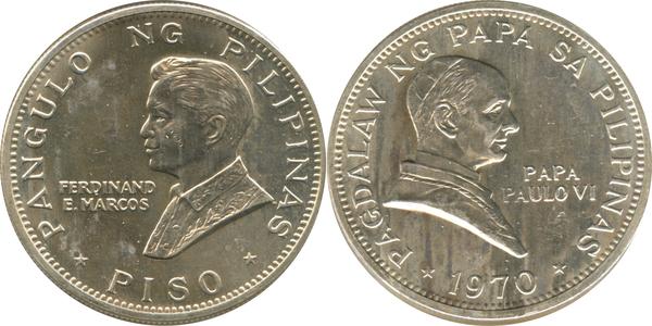 1 Piso (Pope Paul VI Visit - Silver Issue) - Philippines – Numista
