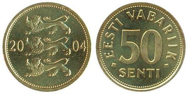 Eesti vabariik 50 senti 2004 монеты арабских эмиратов стоимость