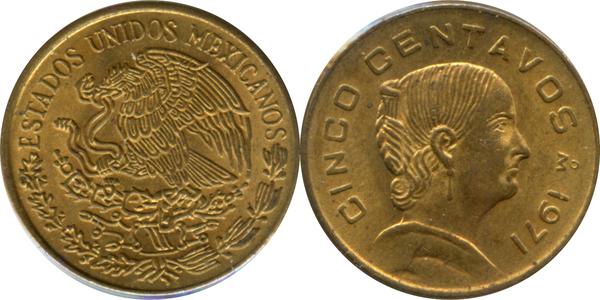 1976 Mexico 5 Centavos Unc.