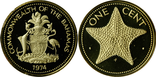 BAHAMAS ISLAND 1 CENT 1974 UNC STARFISH,VALUE AT TOP,ELIZABETH II,NATIONAL ARMS