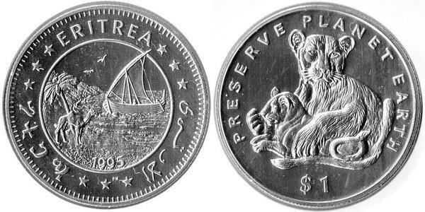 Preserve Planet Earth Lions 1995 Eritrea Dollar