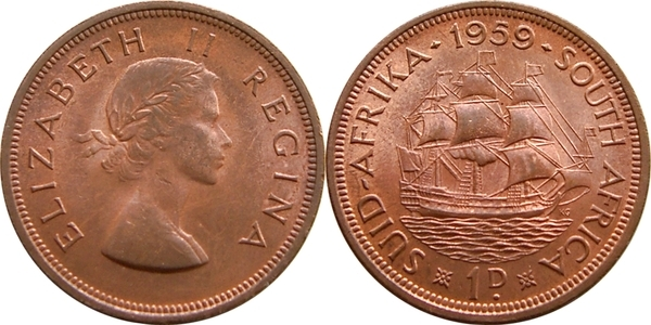 1 Penny - Elizabeth II (1st portrait) - South Africa – Numista