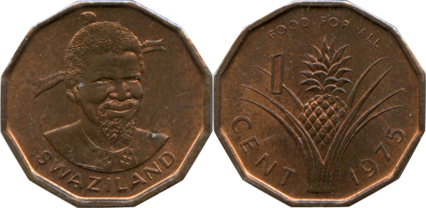 Pineapple 1975 Swaziland 1 cent coin