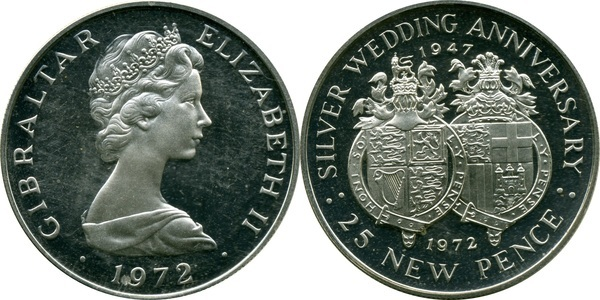 elf Gibraltar 1 Crown 1972 Silver Wedding Anniversary