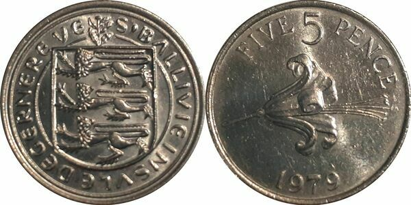 elf Guernsey 5 Pence 1979  Guernsey Lily Flower