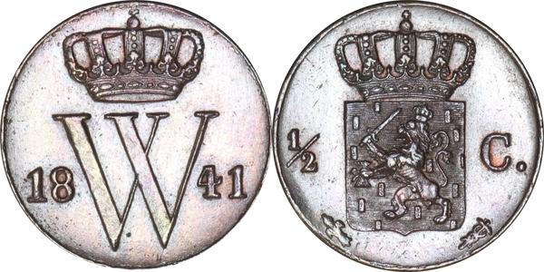 Afbeeldingsresultaat voor willem II 1/2 cent 1841