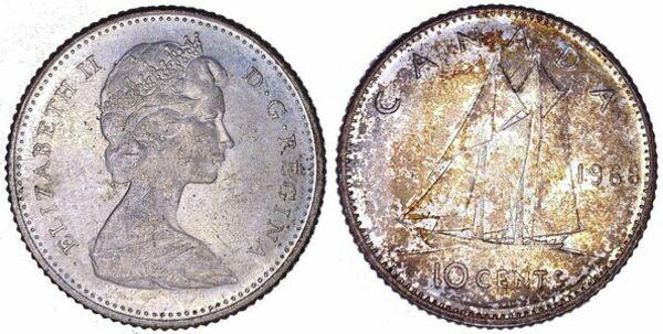 10 Cents - Elizabeth II (2nd portrait, Silver ( 500), Ottawa