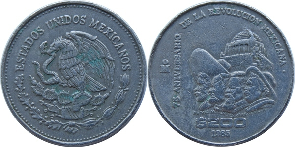 200 Pesos 75th Anniversary Of 1910 Revolution Mexico