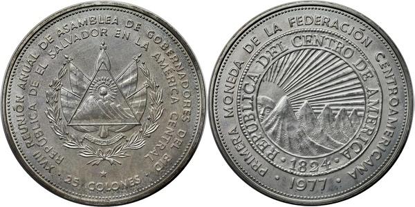 EL SALVADOR SILVER COIN 25 Colones KM151 AU 1977