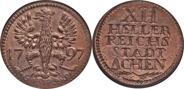 Afbeeldingsresultaat voor XII heller reichs stadt aachen 1793