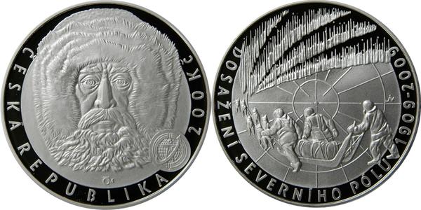 2009 Czech PROOF Silver Coin 200 CZK Korun REACHING the NORTH POLE