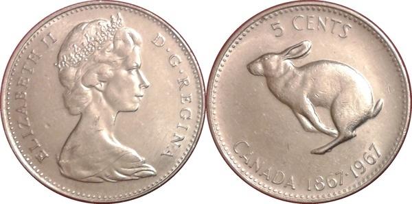 1967 Canada 5 Cents Snowshoe Rabbit